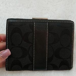 Coach Black Signature Stripe Bifold Wallet